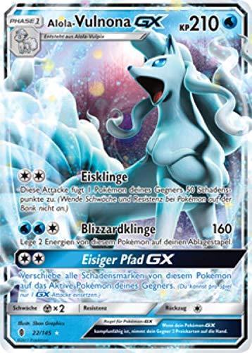 Alola-Vulnona GX 22/145 Pokémon Sonne & Mond Stunde der Wächter Sammelkarte - Deutsch - Cardicuno