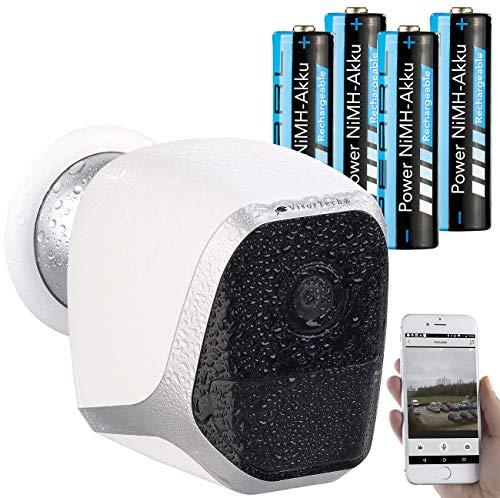 VisorTech WLAN Kamera Akku: IP-HD-Überwachungskamera mit App, IP65, bis 6 Monate Stand-by, 4 Akkus (WLAN IP Kamera aussen)