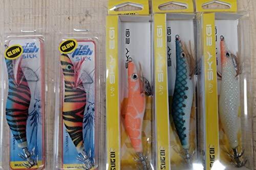 Offerta per la Pesca delle seppie, totanare assortite 5 Esche Artificiali Modelli, Colore e Misure Varie - RIF.Lot.29