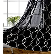 MIUCO Moroccan Embroidered Semi Sheer Curtains Faux Linen Grommet Window Curtains for Bedroom Living Room 63 84 95 Inches Long 2 Panels
