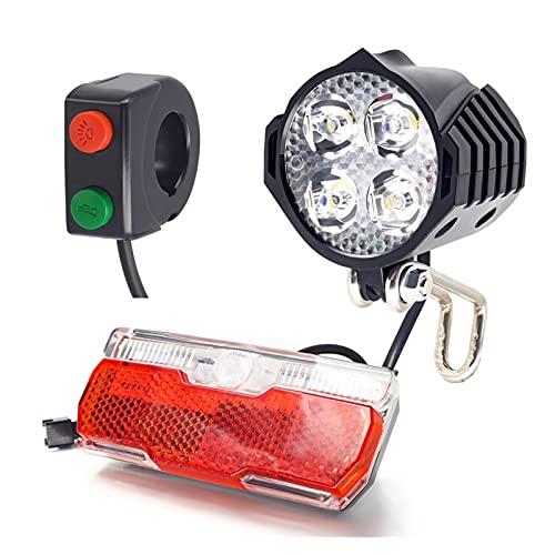 ZZCD Zcdzjxb Faro y Luces traseras Luz de Bicicleta eléctrica con Voltaje de Trabajo de Cuerno 18V 24V 36V 48V E Luz de Bicicleta Pantalla de Bicicleta (Color : Light Set ad Switch)