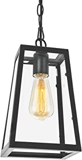 Lampundit Industrial Mini Pendant Lighting with Clear Glass Panels, Metal Iron Frame Square Lantern Hanging Lighting Fixture for Kitchen Island, Restaurants, Hotels and Shops, 1-Pack