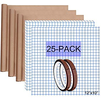 HIRALIY Vinyl Transfer Tape Paper 12 x10  25-Pack with Heat Press Teflon Sheets & Heat Tape Ideal for Transferring Cricut & Silhouette Cameo Designs Decals Stickers HTV