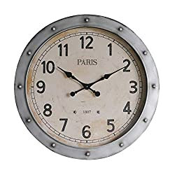 NIKKY HOME Silent Clock Vintage Distressed Metal Decorative Iron Old Town Industrial Style Large Wall Clock - 32