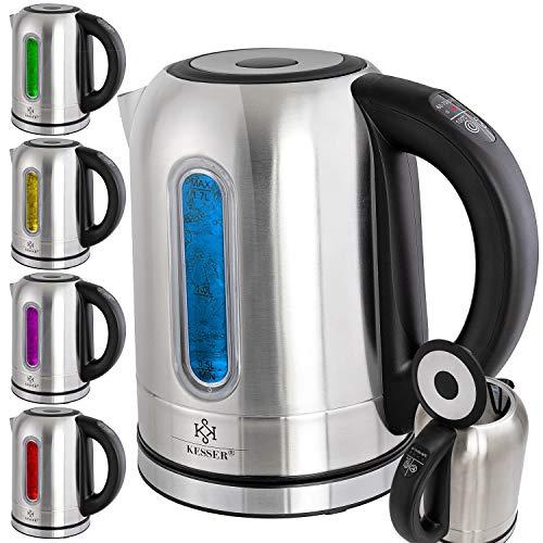 KESSER Wasserkocher 2200W Edelstahl 1,7L mit LED Beleuchtung-Farbe je nach Temperaturwahl 60, 70, 80, 90, 100 °C | Kalk-Filter | 2 Std Warmhaltefunktion