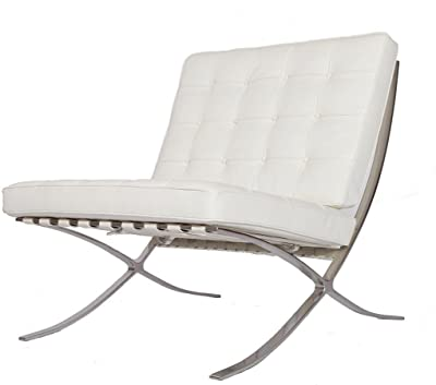 EMODERN FURNITURE eMod - Modern Pavilion Barcelona Chair Italian Leather White