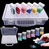 Caja de pintura de diamantes, Joyibay 64 rejillas Caja de almacenamiento de diamantes Cuentas Caja de bordado de diamantes portátil para coser, diamantes de uñas, accesorios de pintura de diamantes