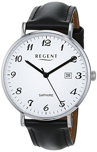 Regent Herren Analog Quarz Uhr mit Leder Armband 11110815