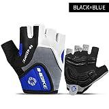 Bruce Dillon Fahrradhandschuhe Halbfinger Herren Damen Sommer Sport Fahrradhandschuhe Nylon Mountainbike Handschuhe - 5mm Gel Pad-Blau XMX
