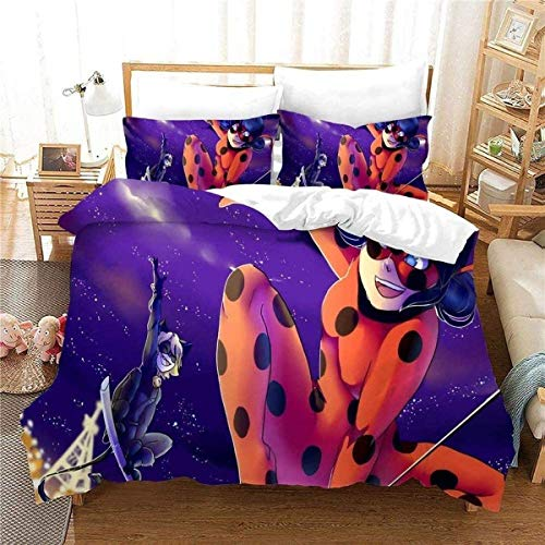 QWAS Ropa de cama infantil de animación, tejido de microfibra, resistente al desgaste para todas las estaciones, funda de edredón de bebé (A03, 200 x 200 cm + 80 x 80 cm x 2)