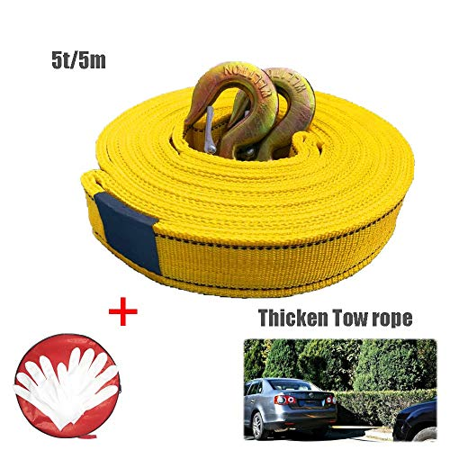 Yingji Auto Abschleppseile 4m/5m,Abschleppseil, Mit Zwei Sicherheitshaken,Aufbewahrungstasche, Last 5t Geeignet Für SUV/Auto/Outdoor Cross Country/Notfall (Color : Double Layer, Size : 5t/5m)