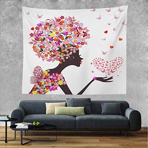 ZYFang Hippie Sexy Girl Tapestry Mujer Multicolor Wandbehang Tapisserie Tapiz con flores mariposas Wandbehang Frühling Tapisserie, Tapisserie, para dormitorio, salón, Dorm Party Decor