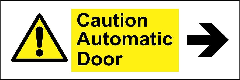 Etiqueta - Seguridad - Advertencia - Señales de advertencia Precaución puerta automática flecha izquierda Letrero de seguridad 30x10cm - oficina, empresa, escuela, hotel