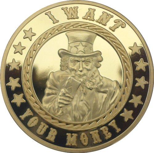 Fa. Wessel Pokerguard Poker Card Guard I Want Your Money echt vergoldet, Pokerzubehör