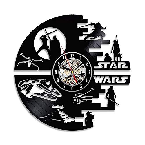 YXB Horloge Murale en Vinyle Vinyle LP Horloge Murale Star Wars créatif conçu Non coutil Silencieux Maison hôtel Bar Bureau décor 30 cm de diamètre