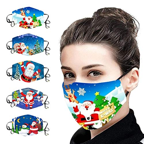 LiLiMeng 5PCS Christmas Face_Msaks - Washable Reusable Unisex Cotton Dustproof Windproof Face Màsc with Adjustable Ear Loops for Women Men Outdoor Activities (E)