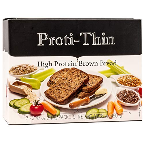 Proti-Thin High Protein Brown Bread - 3 Slices per Serving - 7 Servings - 15g Protein - High Fiber - Low Net Carb Diet Bread