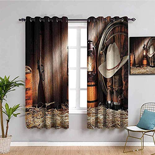 ZLYYH Thermal Curtains Retro nostalgic shoes hat W55 xL90 Bedroom Curtains Super Soft Pencil Pleated Curtains Thermal Insulated Tape Top Blackout Curtains for Living Room 2 Panels