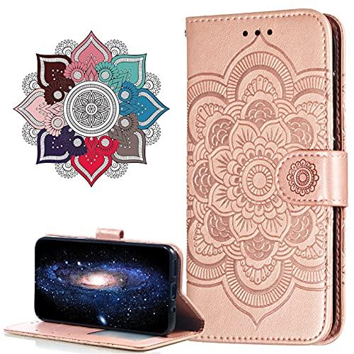 MRSTER Xiaomi Redmi Note 10 Case Flip Premium Portemonnee Telefoon Case PU Lederen Mandala Reliëf Shockproof Cover met Kickstand Kaarthouder voor Xiaomi Redmi Note 10 4G. LD Mandala Rose Gold