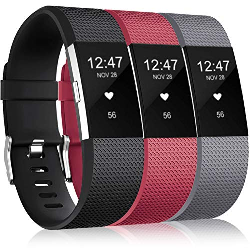 Wepro Bands Replacement Compatible with Fitbit Charge 2 for Women Men Small, 3 Pack Sports Watch Band Strap Compatible with Fitbit Charge2 HR Fitness Tracker, Black,Wine Red,Gray