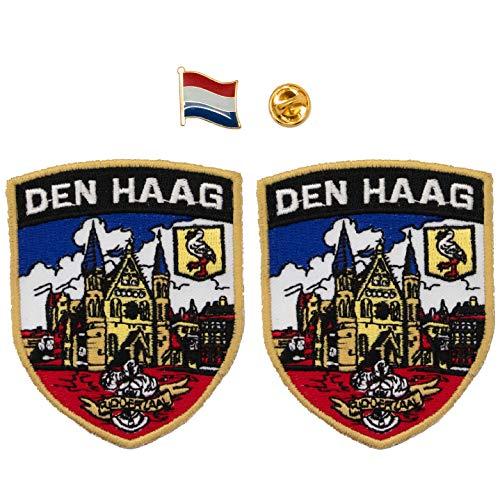 A-ONE 2 + 1 Stück Packung – The Haague Shield Patch 2 Stück + Niederlande Flagge Abzeichen 1 PC Den Haag Aufnäher Patch & Land Revers Pins