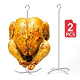 Reyhoar BBQ Super Skewers, Poultry Hanger, Turkey Holder, Pit Barrel Bronco Cooker Accessories, Vertical Grill Rack for Oklahoma Joe Smoke Whole Chicken/Turkey, 2-Set with 2 skewers 2 Bases, Silver