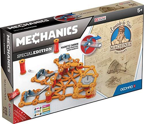 Geomag Edición Especial 784 - Cañón Múltiple Leonardo - Construcciones Magnéticas - Máquinas Leonardo Da Vinci para Niños - Caja de 266 Piezas