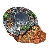 Balacoo Decoraciones de Acuario Ornamento de Acuario de OVNI Ornamento Creativo de Tanque de Peces de Nave Espacial