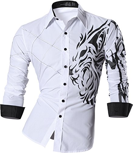 jeansian Men's Slim Fit Long Sleeves Casual Shirts Z030 White M