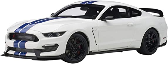 Ford Mustang Shelby GT-350R Oxford White with Lightning Blue Stripes 1/18 Model Car by Autoart 72931