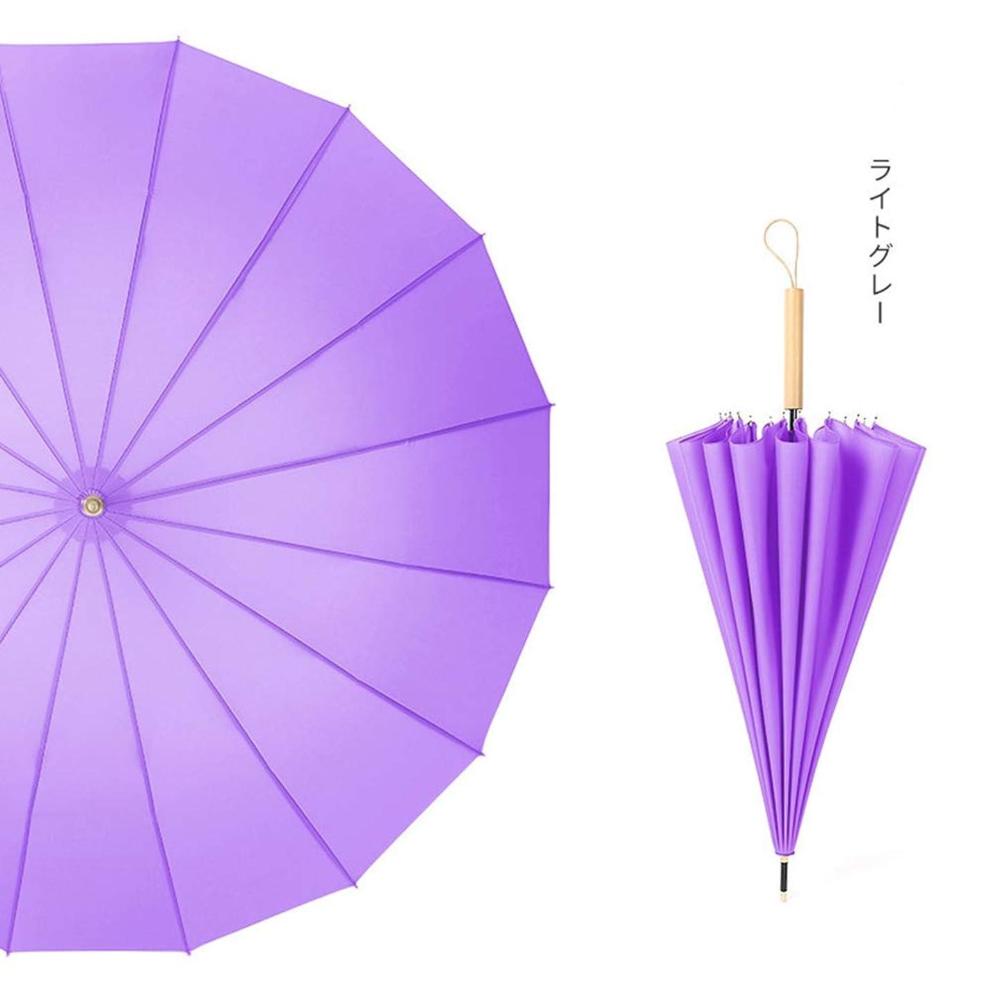 法律により霊掃く神馬 文学16骨ロングハンドル傘レトロ雨兼用アンティーク風セン日本の小さな新鮮なストレート傘 (パープル)