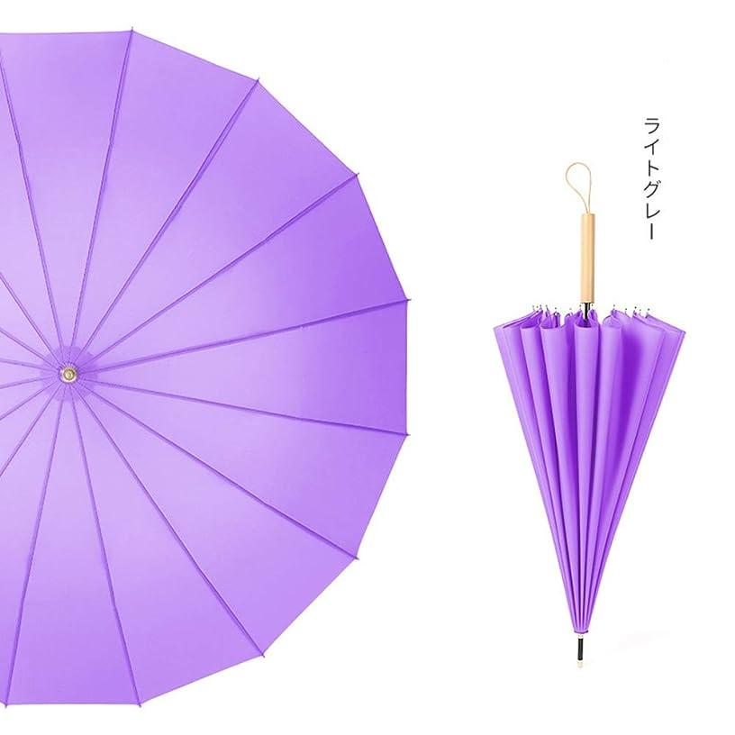 真夜中あいさつ何よりも神馬 文学16骨ロングハンドル傘レトロ雨兼用アンティーク風セン日本の小さな新鮮なストレート傘 (パープル)