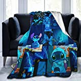 Soft Flannel Blanket Retro Lilo & Stitch Lovely Blue Stitch Splicing 50'x40' Blanket Flannel Summer Air Conditioner Super Soft 3D Printed Throw Blanket Home Bed Sofa.