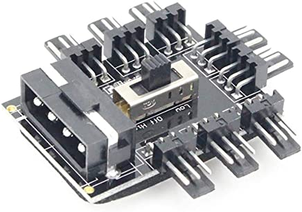 TLfyajJ 1/A 10/Way 12/V 4pin PC Ordenador CPU RGB refrigeraci/ón Ventilador Controlador Hub con Cable