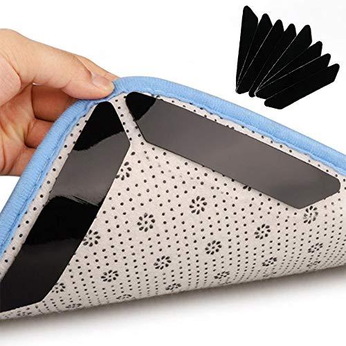 10 agarradores de alfombra, antideslizante para alfombras lavables, con adhesivos reutilizables y fuertes para suelos de madera, azulejos, alfombras, tapetes de piso