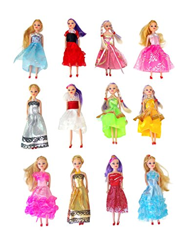 Butterfly Craze Miniature Doll Play-Set Bundle with Princess and Fashion Clothes Accessories. Great for Birthday Party Favors, Tea Parties, and Dollhouses. 6' Tall (12 Doll Set)