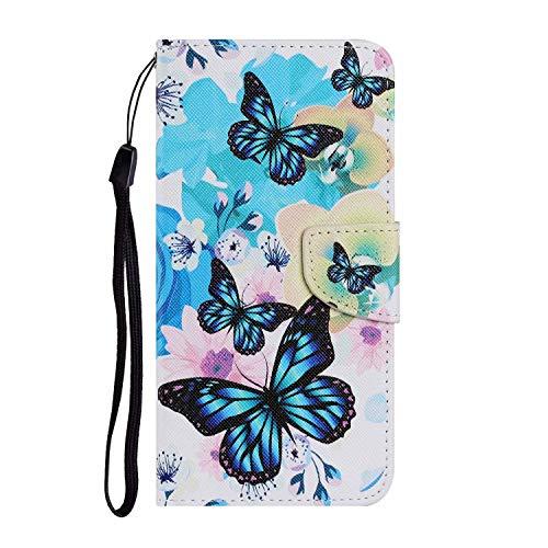 Miagon für Samsung Galaxy A70 Hülle,Bunt Muster Handytasche Flip Case PU Leder Cover Magnet Schutzhülle Ständer mit Kartenfach Magnetisch,Blau Schmetterling