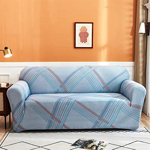 Funda De Sofá Elástica Antideslizante Retráctil De Rayas Azules, Cojín De Sofá De Sala De Estar En Casa, Funda Protectora De Sofá De Reposabrazos 4 Seater (230-300 cm)