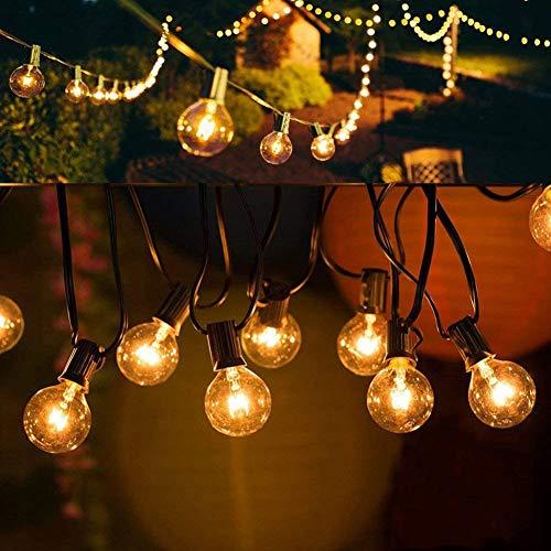 Lichterkette Außen, UOUNE G40 50er+5er 50FT Lichterkette Glühbirnen - Lichterkette Innen Strombetrieben Garten für Deko Party Terrasse Weihnachten Hochzeit Draußen Warmweiß