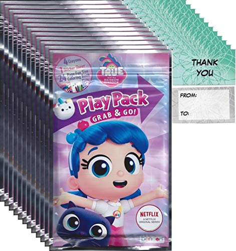 """True and Rainbow Kingdom Grab and Go Play Packs Bundle (12 Packs) Party Favors and 12""""Thank you"""" Cards"""