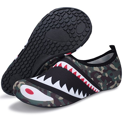 Barerun Barefoot Quick-Dry Water Sports Shoes Aqua Socks for Swim Beach Pool Surf Yoga for Women Men (S(W:4.5-5.5), Camouflage Shark)