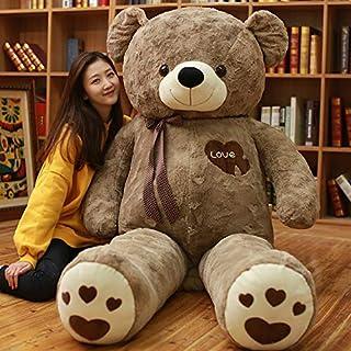 AMIRA TOYS テディベア 特大 クマのぬいぐるみ 大きいぬいぐるみ くま 抱き枕 熊 手触りふわふわ 癒し インテリア (ダークブラウン, 145cm)