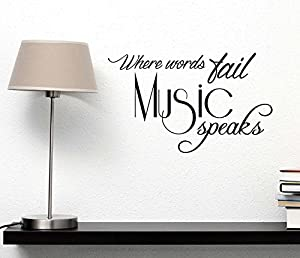 Wall Decal Where Words Fail Music Speaks. Cute Wall Vinyl Decal Quote Art Saying Decor