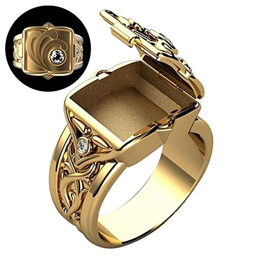 Men's Ring Retro Band Rings with Mini Secret Compartment Storage Box Flip Coffin Ring Punk Hip Hop Party Jewelry Gift for Men Women