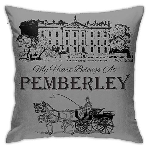 Girdoy Jane Austen Pemberley Books Club Mr Darcy Fans Literary Quotes Gifts Funda De CojíN para Sofá, Dormitorio, Coche, Funda De Almohada Cuadrada, DecoracióN del Hogar (18x18 Pulgadas / 45x45cm)