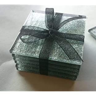 Fused Glass Silver Glitter Coasters set of 6