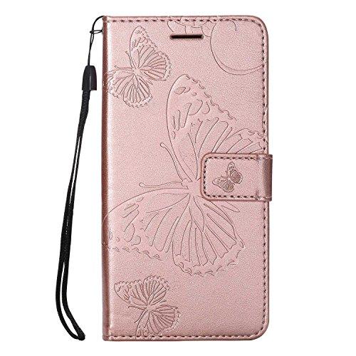 DENDICO Cover Huawei P20 Lite, Pelle Portafoglio Custodia per Huawei P20 Lite Custodia a Libro con Funzione di appoggio e Porta Carte di cRossoito - Oro Rosa