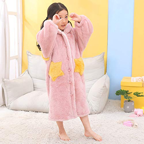 LJQXBF Winter Robes,Kids Flannel Bathrobe Shower Girl Coral Fleece Pajamas Sleepwear Baby Boy Winter Hooded Towel Robes Teens Pyjamas Warm Nightgown,11,12T