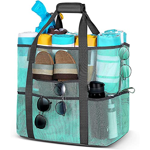 XFY Bolsa de Playa Malla, Bolsa de Playa Juguete con una Capacidad MáXima 40l Bolsillos Gran TamañO, Plegable para Juguetes Playa, Compras, Mercados