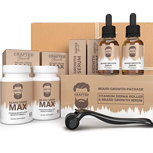 Beard Growth Bundle - Crafted's Derma Roller for Beard Growth - 2x Beard Growth Oil - 2x Beard Growth Pills - Stimulate Beard and Hair Growth - Best Derma Roller for Men - Amazing Beard Growth Kit